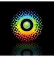 sign rainbow-sun on a black background vector image vector image