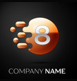silver number eight logo gold dots splash bubble vector image