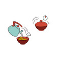 spaghetti noodles preparation steps icon vector image