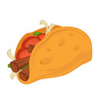 taco mexican traditional food with tomato and meat vector image