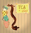 Tea cups with tea vector image vector image