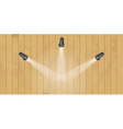 three lights and wooden wall vector image vector image