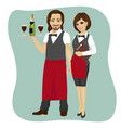 waiter and waitress holding a serving tray vector image vector image