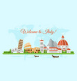 welcome to italy flat banner template vector image vector image