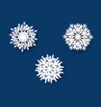 white snowflakes collection blue background vector image