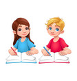 young students boy and girl with books and pencils vector image vector image