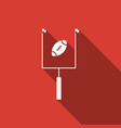american football with goal post with long shadow vector image