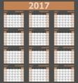 Calendar 2017 week starts on Sunday brown tone vector image
