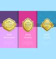 100 percent guarantee quality luxury golden labels vector image vector image