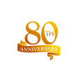 80 year ribbon anniversary vector image