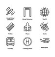 9 airport line icons vector image