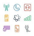 9 connection icons vector image vector image