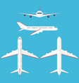 airplane set in sky commercial airplane in vector image