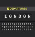 airport flip board font showing flight departure vector image vector image