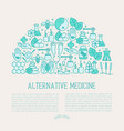 alternative medicine concept in half circle vector image vector image
