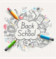 back to school concept doodles vector image vector image