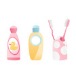 bathroom equipment toothbrush and mouthwash vector image vector image