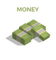 big stacked pile of cash hundreds of dollars vector image vector image