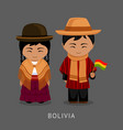 bolivians in national dress with a flag vector image vector image