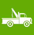 car towing truck icon green vector image vector image