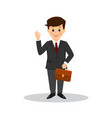 cartoon businessman marks ok with the fingers vector image vector image