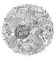 Cartoon doodles hand drawn Picnic vector image