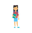 casual schoolgirl with backpack and copybook vector image