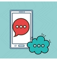 cellphone bubble speech cartoon vector image