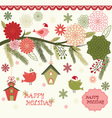Christmas Bird Flora set vector image vector image