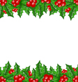 Christmas decoration holly berry branches vector image vector image