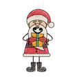 color crayon stripe cartoon of funny santa claus vector image