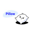 cute soft bed pillow cartoon comic character with vector image vector image