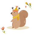 cute squirrel in a hat and scarf forest animal vector image vector image