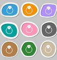 Diamond engagement ring icon symbols Multicolored vector image