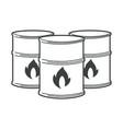 flammable barrels oil or biofuel explosive vector image