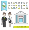 Flat Finance Concept With Businessman And Bank vector image vector image