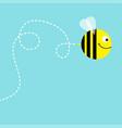 flying bee in the sky dash line air loop cute vector image vector image
