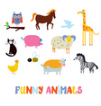 Funny animals set - simple design vector image vector image