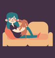 Girl Holding her Dog on Sofa vector image vector image