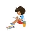 Girl Sketching In Notebook vector image vector image