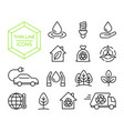 green energy nature help thin line icon set vector image vector image