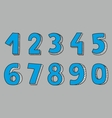 Hand drawn blue numbers vector image vector image