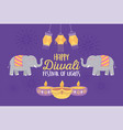 happy diwali festival greeting card elephants vector image vector image