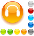 headphones button vector image vector image