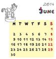 horse calendar 2014 june vector image vector image
