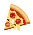 hot pizza slice with sticky cheese and vector image