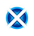 initial x circular edgy technology symbol logo vector image