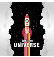 lets go universe rocket flying background vector image