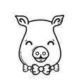 line cute pig female wild animal vector image vector image