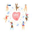 love your body happy women dancing around heart vector image vector image
